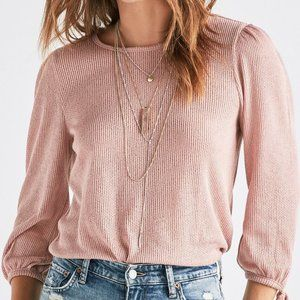Lucky Brand Balloon Sleeve Tied Top Ribbed Blush L